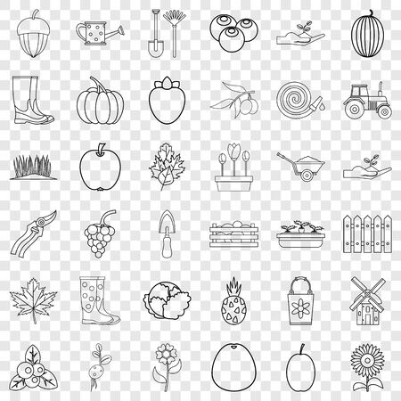 Shovel icons set, outline style