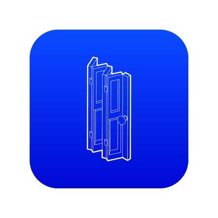 Folding door icon blue vector Vectores