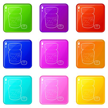 Sleeping pill icons set 9 color collection isolated on white for any design Ilustração