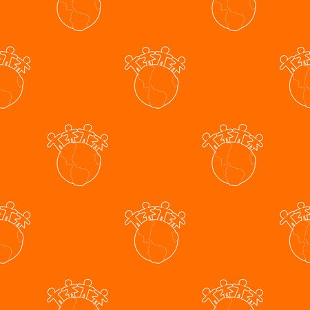 Globe pattern vector orange
