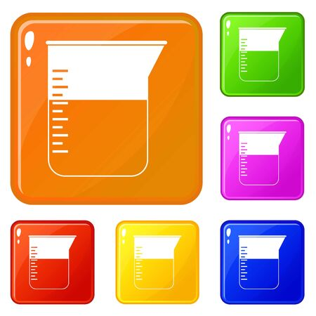 Measuring cup icons set collection vector 6 color isolated on white background Stock Illustratie