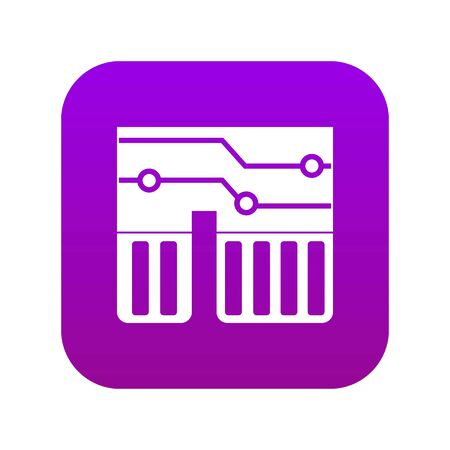 Computer chipset icon digital purple for any design isolated on white vector illustration