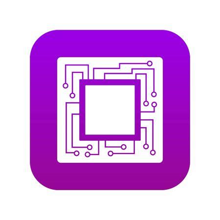 Microchip icon digital purple Vecteurs