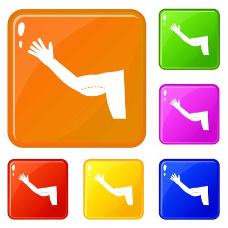 Flabby arm cosmetic correction icons set vector color