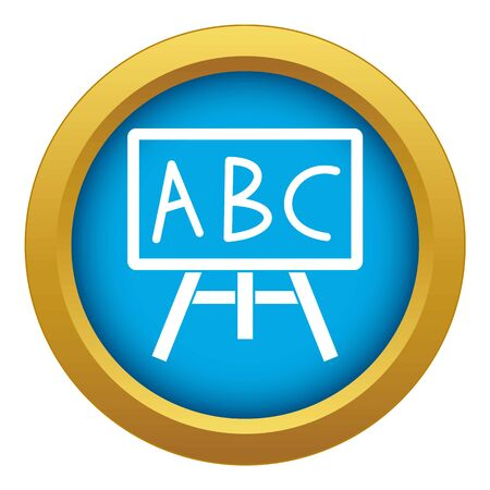 Chalkboard with the leters ABC icon blue vector isolated on white background for any design