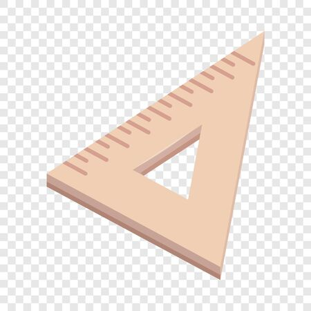 Triangle wooden ruler icon, cartoon style Иллюстрация