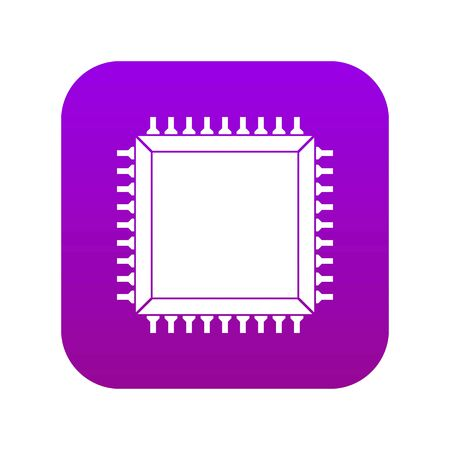 Computer microchip icon digital purple for any design isolated on white vector illustration