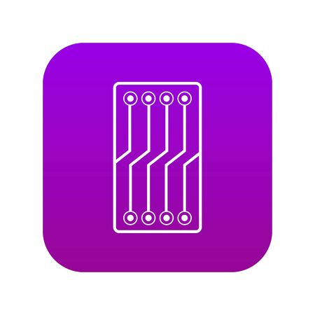 Circuit board icon digital purple