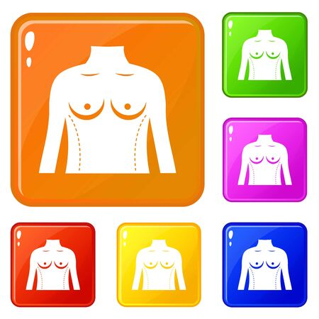 Plastic surgery of torso icons set collection vector 6 color isolated on white background