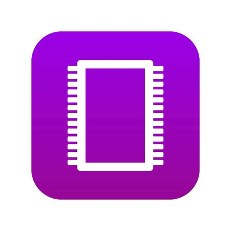Computer electronic circuit board icon digital purple for any design isolated on white vector illustration 일러스트