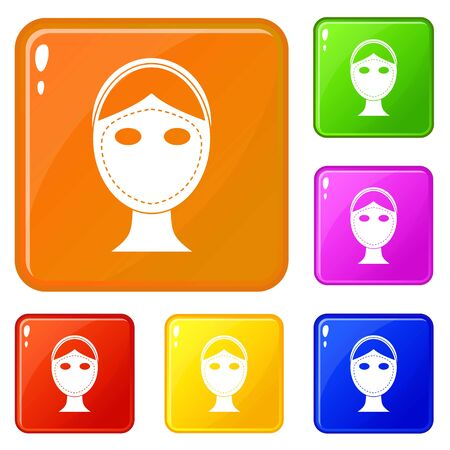Face marked out for cosmetic surgery icons set collection vector 6 color isolated on white background Ilustracja
