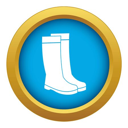 Rubber boots icon blue vector isolated on white background for any design