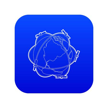 Satellite system around Earth icon blue vector