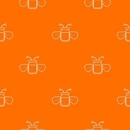 Jar of bee honey pattern vector orange