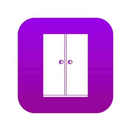 Wooden wardrobe icon digital purple for any design isolated on white vector illustration
