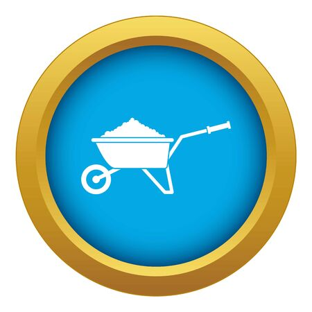 Wheelbarrow loaded with soil icon blue vector isolated on white background for any design