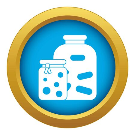 Jars with pickled vegetables and jam icon blue vector isolated Çizim