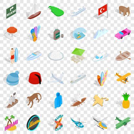 Test icons set, isometric style