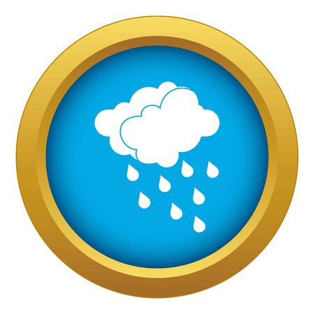 Clouds and water drops icon blue vector isolated on white background for any design Illustration