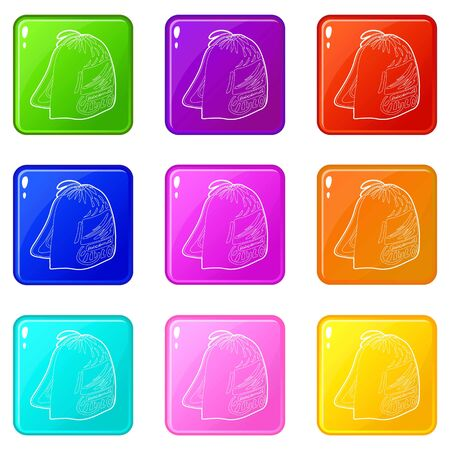 Sport backpack icons set 9 color collection isolated on white for any design