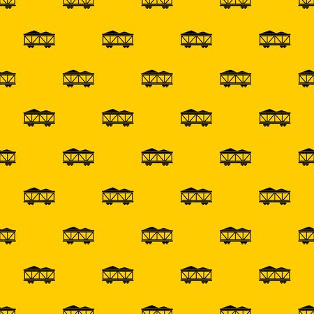 Train cargo wagon pattern seamless vector repeat geometric yellow for any design