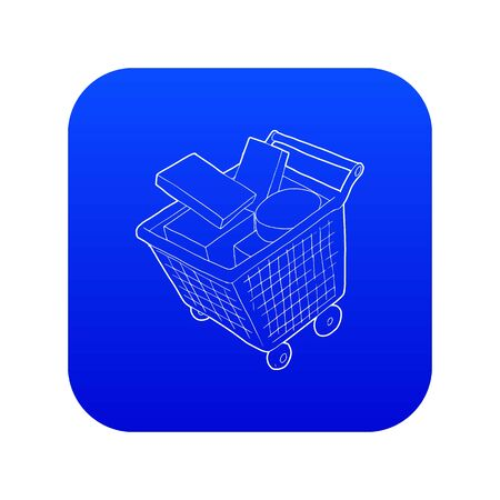 Sale shopping cart with boxes icon blue vector isolated on white background Illustration