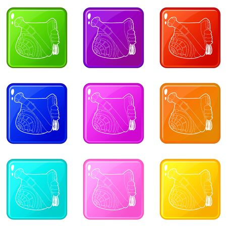 Teenage school backpack icons set 9 color collection isolated on white for any design