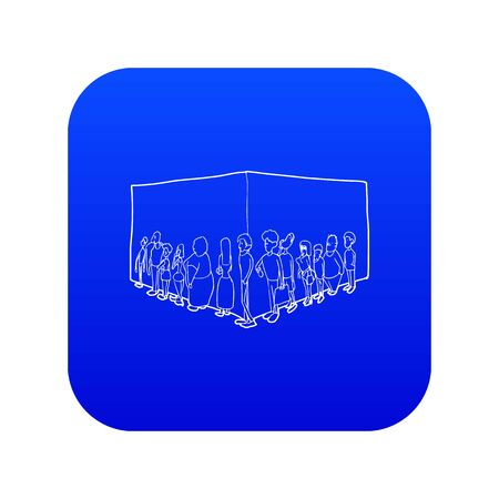 People queue icon blue vector isolated on white background