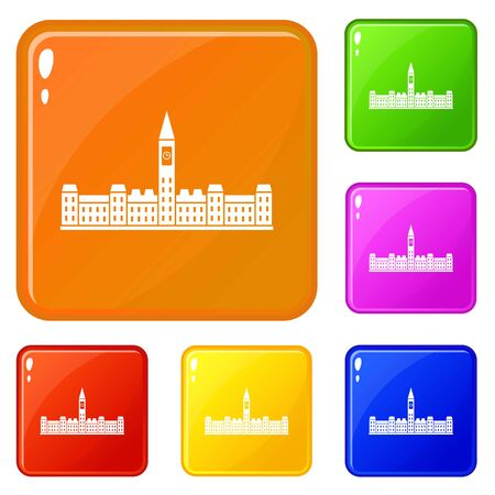 Parliament Building icons set vector color
