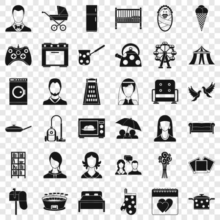 Family activity icons set, simple style Иллюстрация