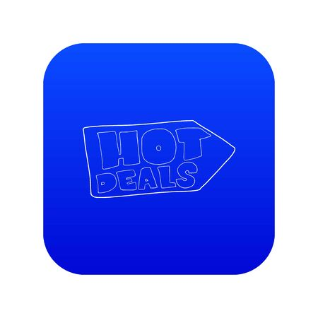 Hot deals direction sign icon blue vector isolated on white background