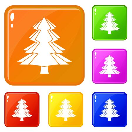 Fir tree icons set collection vector 6 color isolated on white background