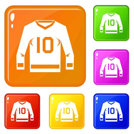 Hockey jersey icons set collection vector 6 color isolated on white background