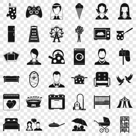 Lifestyle icons set, simple style