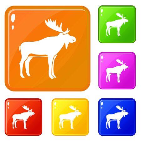 Deer icons set vector color Illustration