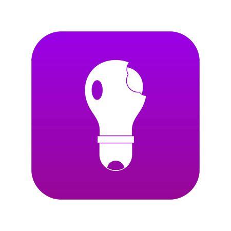Broken lightbulb icon digital purple for any design isolated on white vector illustration