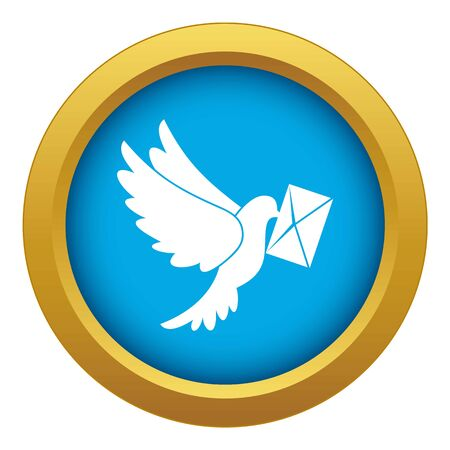 Dove carrying envelope icon blue vector isolated