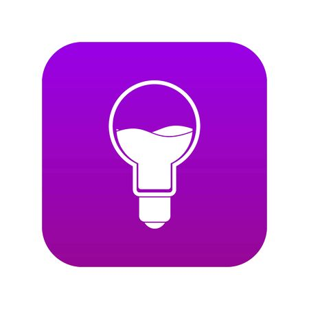 Light bulb with blue water inside icon digital purple for any design isolated on white vector illustration