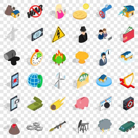 Disaster icons set, isometric style