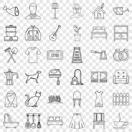 Lifestyle icons set, outline style Stock Illustratie