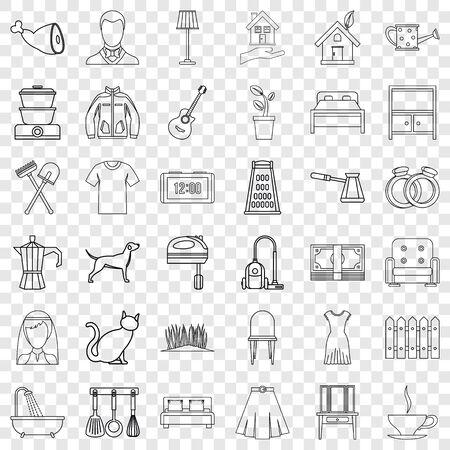 Lifestyle icons set, outline style Illustration