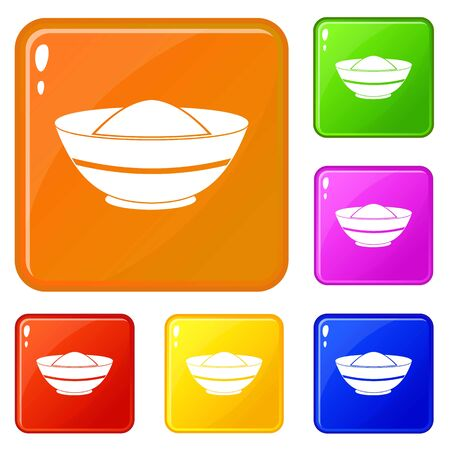 Indian spicy icons set vector color