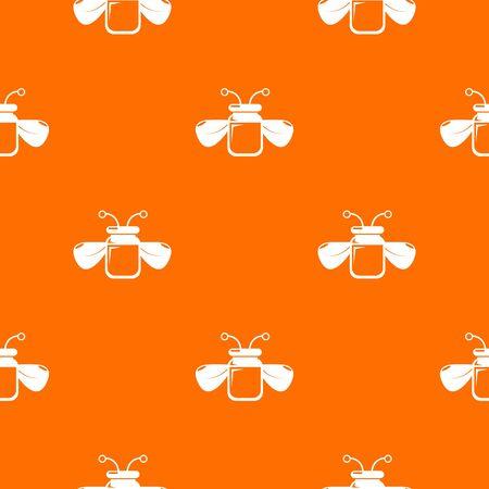 Jar bee honey pattern vector orange
