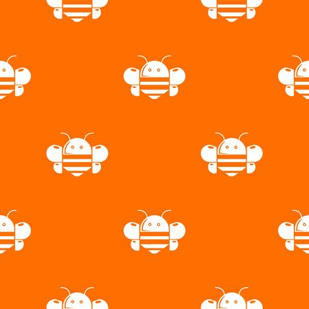 Bee pattern vector orange Illustration