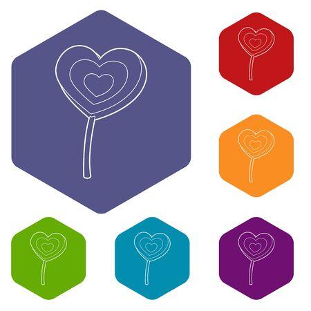 Lollipop heart icon. Outline illustration of lollipop heart vector icon for web