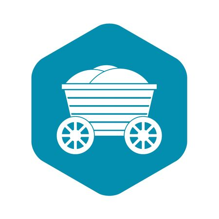 Vintage wooden cart icon. Simple illustration of wooden cart vector icon for web design Vettoriali