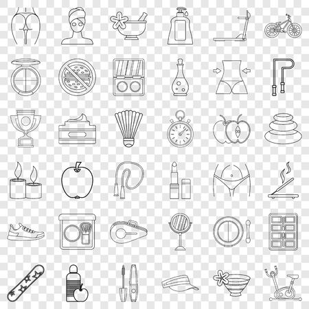 Mirror icons set, outline style Illustration