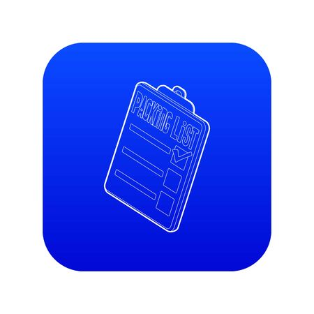 Clipboard with packing list icon blue vector isolated on white background