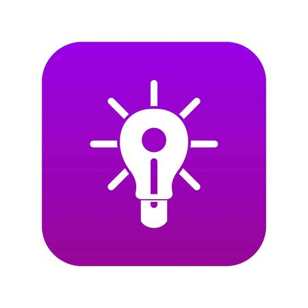 Glowing light bulb icon digital purple for any design isolated on white vector illustration
