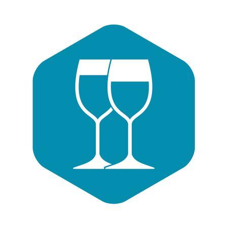 Wine glasses icon, simple style